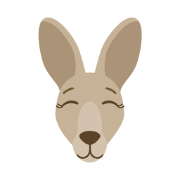 Pegatina plana oreja cabeza de canguro