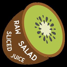 Ensalada cruda de kiwi en rodajas de jugo plano