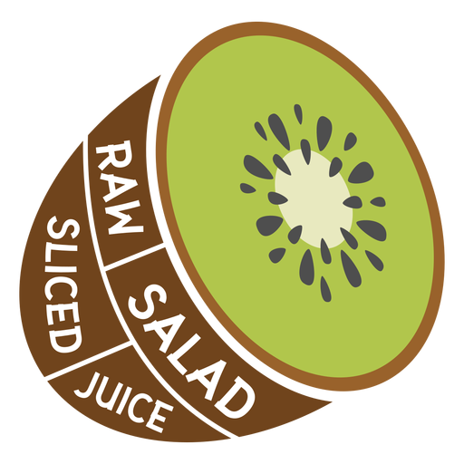 Ensalada cruda de kiwi en rodajas de jugo plano Transparent PNG