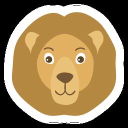 Etiqueta engomada plana del bozal de la melena de la cabeza del león