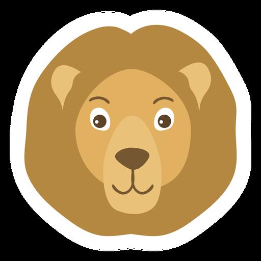 Etiqueta engomada plana del bozal de la melena de la cabeza del león Transparent PNG