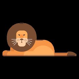 León rey sentado cola melena plana redondeada geométrica