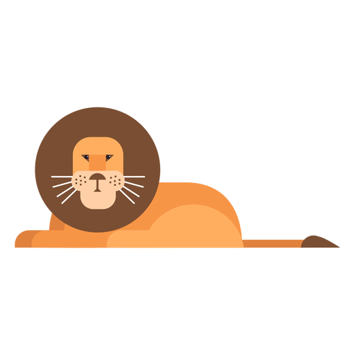 Lion king sitting tail mane flat rounded geometric Transparent PNG