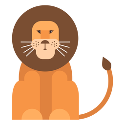 León rey cola melena plana redondeada geométrica