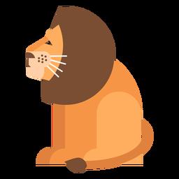 León rey cola sentada melena plana redondeada geométrica