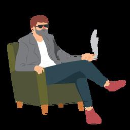 Homem, barba, óculos, estilo, fumaça cigarro, poltrona, apartamento