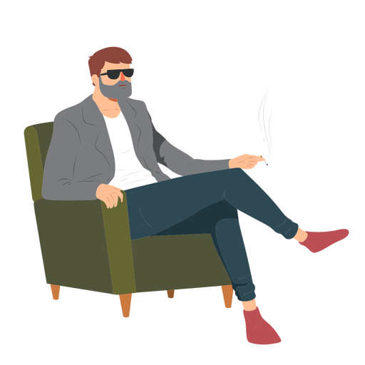 Hombre barba gafas estilo cigarrillo humo sillón plano Transparent PNG
