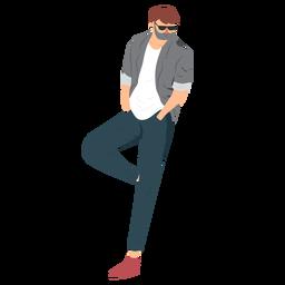 Gafas hombre barba estilo plano