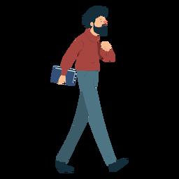 Hombre barba polo cuello pantalones libro bigote plano