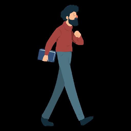 Homem, barba, polo, pescoço, calças, livro, bigode, apartamento Transparent PNG