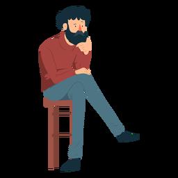 Hombre barba polo cuello pantalones silla bigote plana