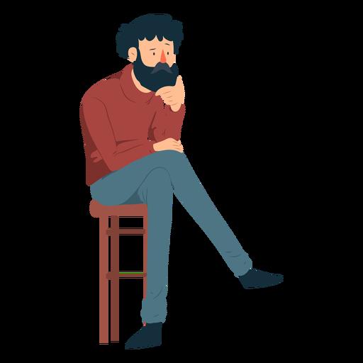 Man beard polo neck trousers chair moustache flat Transparent PNG