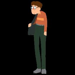 Hombre gafas bolso pantalones cinturón jersey plano