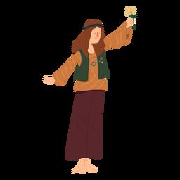 Homem hippie penteado flor emblema camisa plana