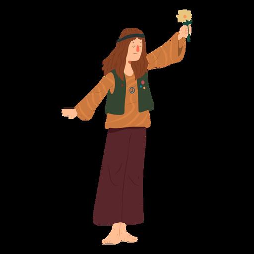 Hombre hippie peinado flor emblema camisa plana Transparent PNG
