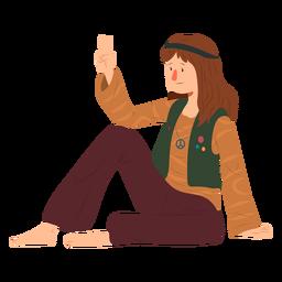 Homem, hippie, sentando, gesto, penteado, emblema, camisa, apartamento