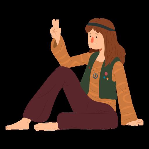 Man hippie sitting gesture hairstyle emblem shirt flat Transparent PNG