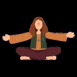 Hombre hippie sentado peinado emblema camisa plana