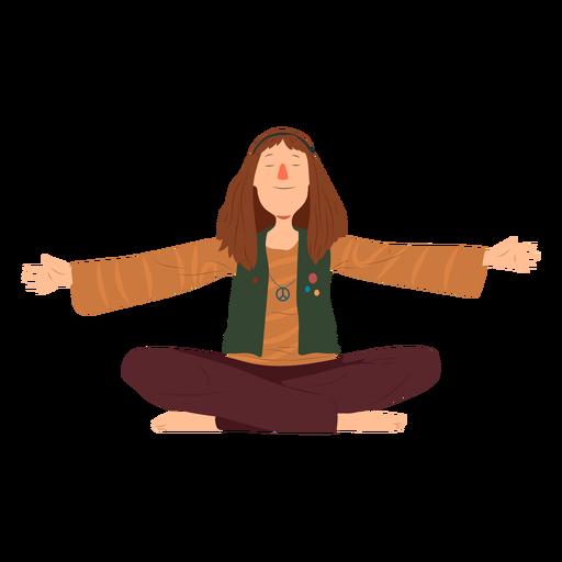 Homem, hippie, sentando, penteado, emblema, camisa, apartamento Transparent PNG