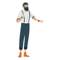 Hombre inconformista barba gafas sombrero tatuaje tirantes tirantes plana