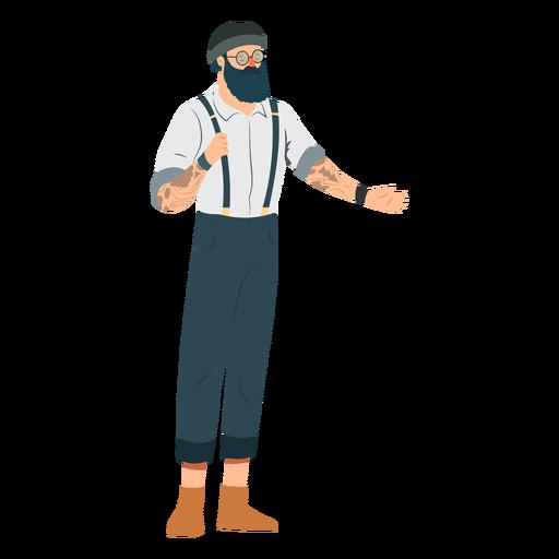 Man hipster beard glasses hat tattoo suspenders braces flat Transparent PNG