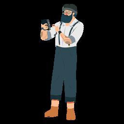 Hombre hipster barba gafas sombrero tatuaje tirantes tirantes teléfono plano