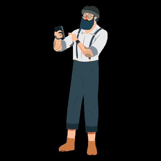 Homem, hipster, barba, óculos, chapéu, tatuagem, suspenders, cintas, telefone, apartamento Transparent PNG