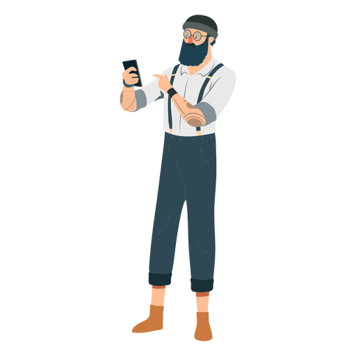 Man hipster beard glasses hat tattoo suspenders braces phone flat Transparent PNG