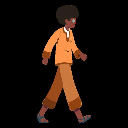 Man walking hairstyle glasses shirt flat Transparent PNG