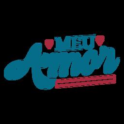 Meu amor portugues text adesivo coração