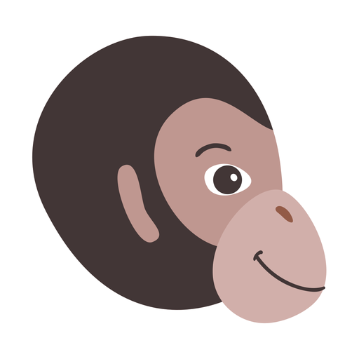 Monkey head flat sticker Transparent PNG