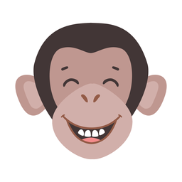 Monkey muzzle laughing tooth flat sticker