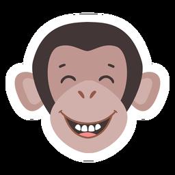 Mono bozal riendo diente pegatina plana