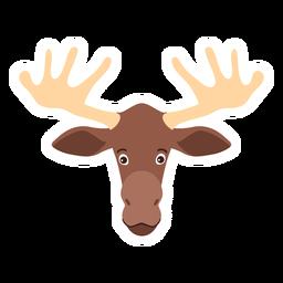 Moose elk head antler flat sticker
