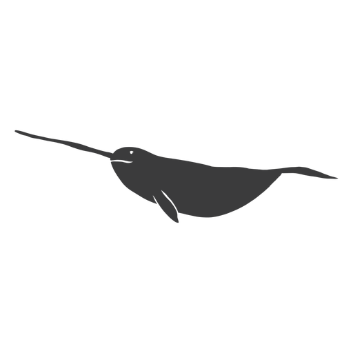 Narwhal flipper tail tusk silhouette Transparent PNG