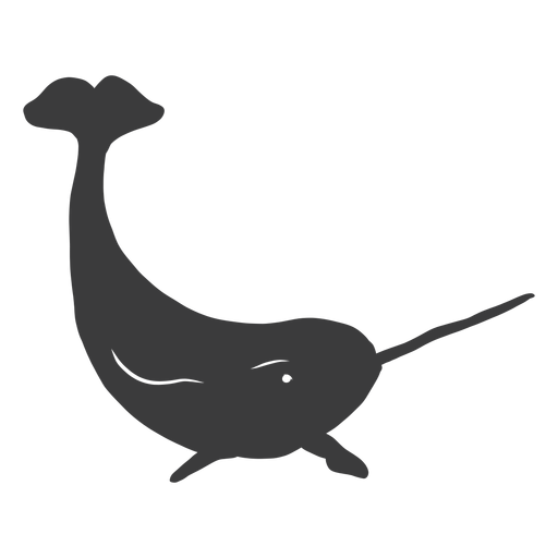 Narwhal tail flipper tusk silhouette Transparent PNG
