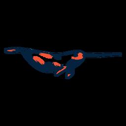 Narval colmillo flipper cola carrera duotono