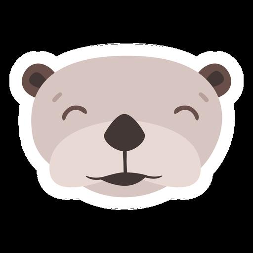 Otter happy head muzzle flat sticker Transparent PNG