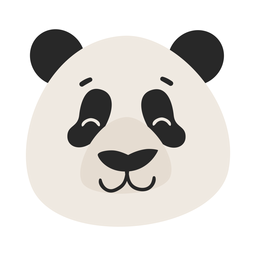 Etiqueta engomada plana del hocico de la cabeza de la panda