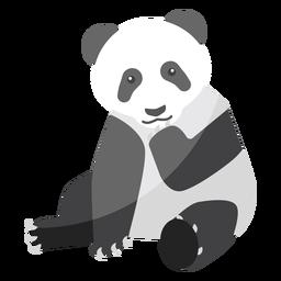 Panda sentado ponto focinho gordura plana