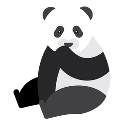 Panda sentado ponto focinho gordo arredondado plano geométrico
