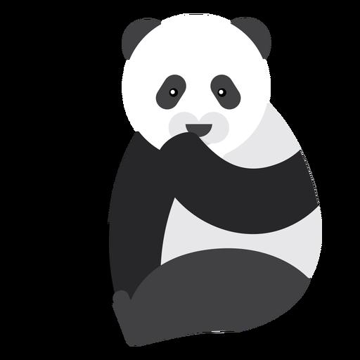 Panda sentado ponto focinho gordo arredondado plano geométrico Transparent PNG