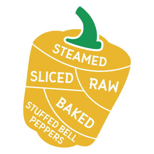 Pepper steamed sliced raw baked stuffed bell peppers flat Transparent PNG