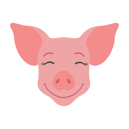 Pegatina plana cerdo oreja feliz hocico