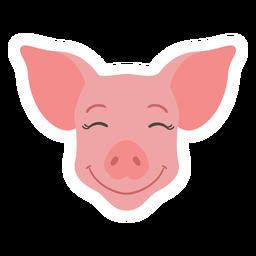 Pegatina plana hocico cerdo feliz oreja