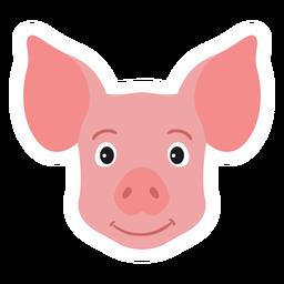 Pegatina plana hocico oreja cabeza de cerdo