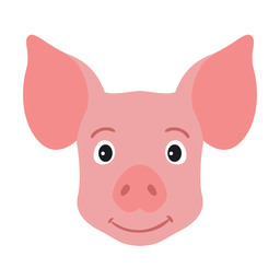 Pig head ear snout flat sticker