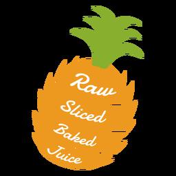 Roher geschnittener gebackener Saft der Ananas flach