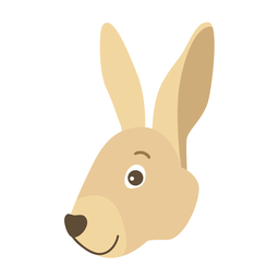 Rabbit bunny ear muzzle flat sticker