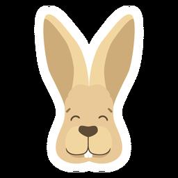 Glücklicher flacher Aufkleber der Kaninchenhäschenohrmündung